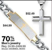 Sears Black Friday: Men's Jewelry - 70% Off