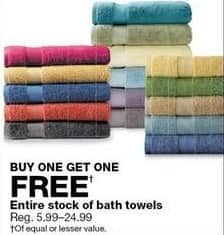 Sears Black Friday: Entire Stock Bath Towels - B1G1 Free
