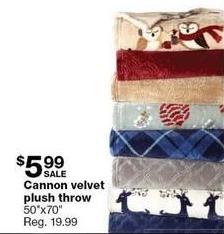 """Sears Black Friday: Cannon 50""""x70"""" Velvet Plush Throw for $5.99"""