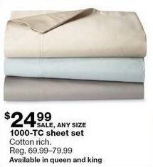 Sears Black Friday: 1000 Thread Count Sheet Set (Queen-King) for $24.99
