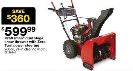 Sears Black Friday: Craftsman Dual Stage Snow Thrower w/ Zero Turn Power Steering for $599.99
