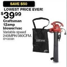 Sears Black Friday: Craftsman 12 Amp Blower/Vac for $39.99