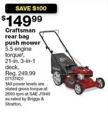 "Sears Black Friday: Craftsman 21"" Rear Bag Push Mower for $149.99"