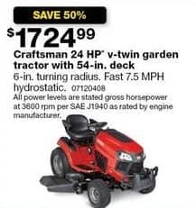 "Sears Black Friday: Craftsman 24 HP 54"" V-Twin Garden Tractor for $1,724.99"