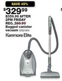 Sears Black Friday: Kenmore Elite 21814 Pet Friendly CrossOver Bagged Canister Vacuum for $329.99