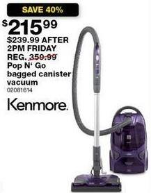 Sears Black Friday: Kenmore 81614 600 Series Pop N' Go Bagged Canister Vacuum for $215.99