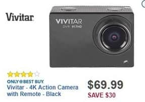 Best Buy Black Friday: Vivitar 4K Action Camera w/ Remote for $69.99