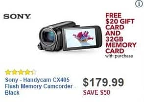 Best Buy Black Friday: Sony Handycam CX405 Flash Memory Camcorder + 32GB Memory Card + $20 Best Buy Gift Card for $179.99