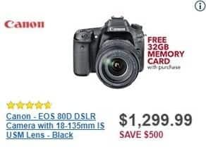 Best Buy Black Friday: Canon EOS 80D DSLR Camera + 18-135mm IS USM Lens + 32GB Memory Card for $1,299.99