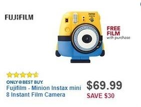 Best Buy Black Friday: Fujifilm Minion Instax Mini 8 Instant Film Camera + Film for $69.99