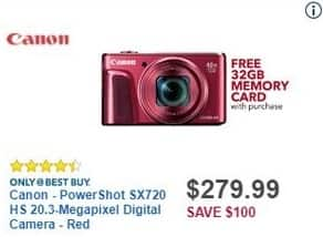 Best Buy Black Friday: Canon PowerShot SX720 HS 20.3-Megapixel Digital Camera + 32GB Memory Card for $279.99