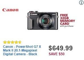 Best Buy Black Friday: Canon PowerShot G7 X Mark II 20.1-Megapixel Digital Camera + 32GB Memory Card for $649.99