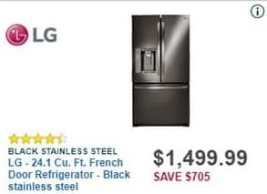 Best Buy Black Friday: LG 24.1 Cu. Ft. French Door Black Stainless Steel Refrigerator (LFX25973D) for $1,499.99