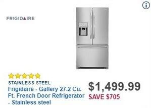 Best Buy Black Friday: Frigidaire Gallery 27.2 Cu. Ft. French Door Stainless Steel Refrigerator (FGHB2868TF) for $1,499.99