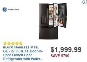 Best Buy Black Friday: GE 27.8 Cu. Ft. Door-in-Door French Door Refrigerator w/ Water and Ice Dispenser (GFD28GBLTS) for $1,999.99