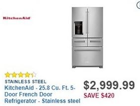 Best Buy Black Friday: KitchenAid 25.8 Cu. Ft. 5-Door French Door Stainless Steel Refrigerator (KRMF706ESS) for $2,999.99