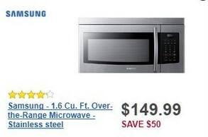 Best Buy Black Friday: Samsung 1.6 Cu. Ft. Over-the-Range Stainless Steel Microwave (ME16K3000AS) for $149.99