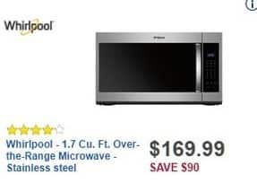 Best Buy Black Friday: Whirlpool 1.7 Cu. Ft. Stainless Steel Over-the-Range Microwave (WMH31017HS) for $169.99
