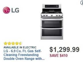 Best Buy Black Friday: LG 6.9 Cu. Ft. Gas Self-Cleaning Freestanding Stainless Steel Double Oven Range w/ ProBake Convection (LDG4315ST) for $1,299.99