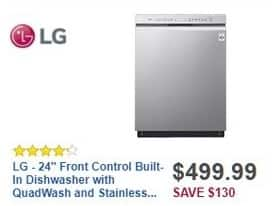 "Best Buy Black Friday: LG 24"" Front Control Built-in Dishwasher w/ QuadWash and Stainless Steel Tub (LDF5545ST) for $499.99"