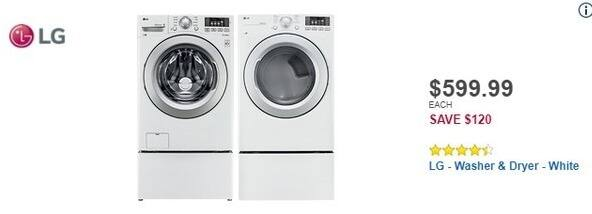 Best Buy Black Friday: LG 4.5 Cu. Ft. 9-Cycle Front-Loading Washer (WM3270CW) for $599.99