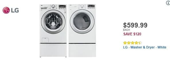 Best Buy Black Friday: LG 7.4 Cu. Ft. 8-Cycle Electric Dryer (DLE3170W) for $599.99