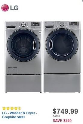Best Buy Black Friday: LG TurboWash 4.5 Cu. Ft. 12-Cycle Front-Loading Washer w/ Steam (WM3770HVA) for $749.99