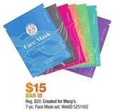 Macy's Black Friday: Bar III 7-pc Face Mask Set for $15.00
