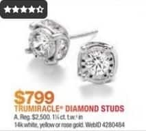 Macy's Black Friday: TruMiracle 1 1/4-Ct T.W. 14k Gold Diamond Stud Earrings for $799.00