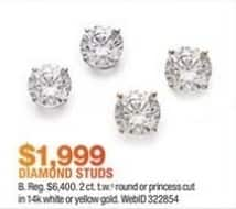 Macy's Black Friday: 2-ct T.W. Round or Princess Cut 14k Gold Diamond Studs for $1,999.00