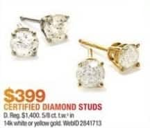 e28e11fe5 Macy's Black Friday: 5/8-ct T.W. 14k Gold Certified Diamond Stud Earrings  for $399.00