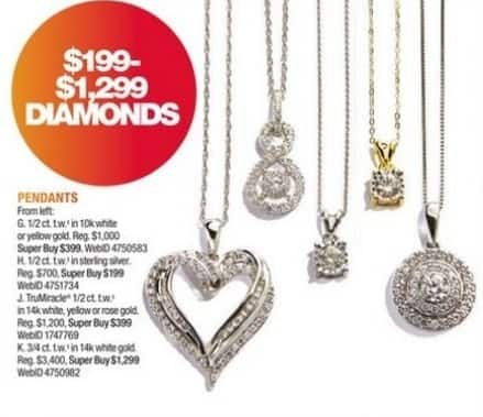 Macy's Black Friday: TruMiracle 1/2-ct T.W. Diamond Pendant Necklace in 14k Gold for $399.00