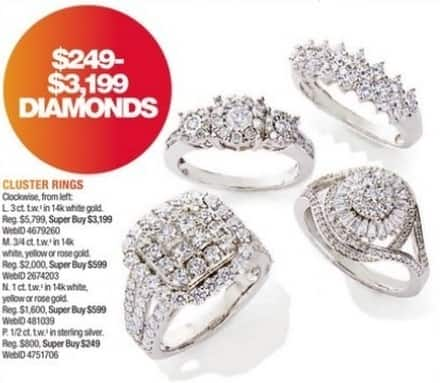 Macy's Black Friday: 1/2-ct T.W. Diamond Starburst Cluster Ring in Sterling Silver for $249.00