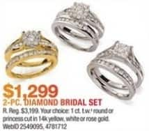 Macy's Black Friday: 1-ct T.W. Round or Princess Cut 2-pc Diamond Bridal Set in 14k Gold for $1,299.00