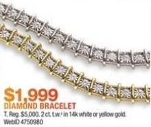 Macy's Black Friday: 2-ct T.W. Diamond Tennis Bracelet in 14k Gold for $1,999.00