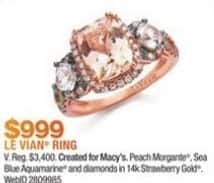 Macy's Black Friday: Le Vian Chocolatier 1 1/2-ct T.W. Peach Morganite 1/2-ct T.W. Aquamarine and 1/3-ct T.W. Diamond Ring in 14k Rose Gold for $999.00