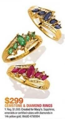 Macy's Black Friday: Gemstone and Diamond Ring in 14k Gold for $299.00