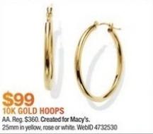 Macy's Black Friday: 10k Gold Hoop Earrings for $99.00