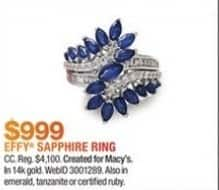 Macy's Black Friday: Effy 3 1/5-ct T.W. Sapphire and 3/8-ct T.W. Diamond Ring in 14k Gold for $999.00