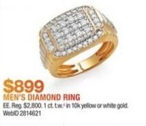 Macy's Black Friday: 1-ct T.W. Diamond Cluster Men's Ring in 10k Gold for $899.00