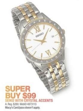 Macy's Black Friday: Seiko Women's 28mm Crystal Accent Two-Toned Watch for $99.00