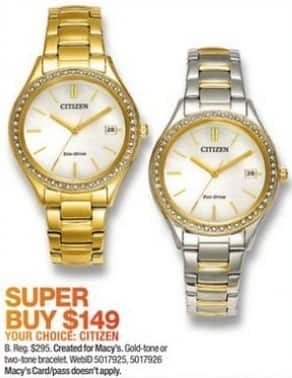 Macy's Black Friday: Citizen Eco-Drive Women's 34mm Gold-Tone or Two-Tone Stainless Steel Bracelet Watch for $149.00