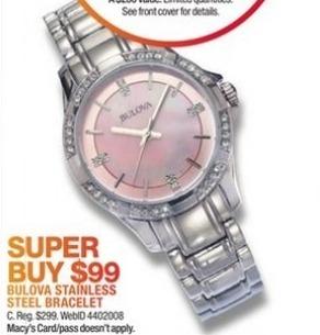 Macy's Black Friday: Bulova Women's 30mm Stainless Steel Bracelet Watch for $99.00