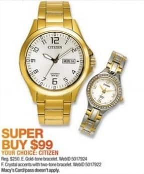 Macy's Black Friday: Citizen Men's 40mm Quartz Gold-Tone Stainless Steel Bracelet Watch for $99.00