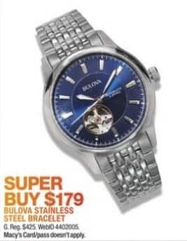 Macy's Black Friday: Bulova Men's 40mm Automatic Stainless Steel Bracelet Watch for $179.00