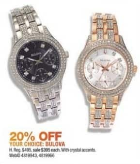 Macy's Black Friday: Bulova Women's 33mm Crystal Stainless Steel Bracelet Watch for $395.00