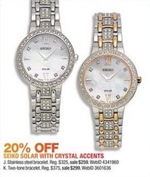 Macy's Black Friday: Seiko Women's 28mm Solar Dress Swarovski Crystal Stainless Steel Bracelet Watch for $259.00