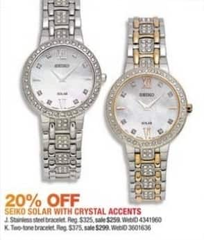 Macy's Black Friday: Seiko Women's 28mm Solar Two-Tone Stainless Steel Bracelet Watch for $299.00