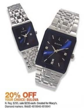 Macy's Black Friday: Bulova Women's Diamond-Accent Stainless Steel Bracelet Watch for $235.00