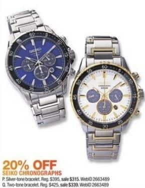 Macy's Black Friday: Seiko Men's 44mm Solar Chronograph Stainless Steel Bracelet Watch for $315.00